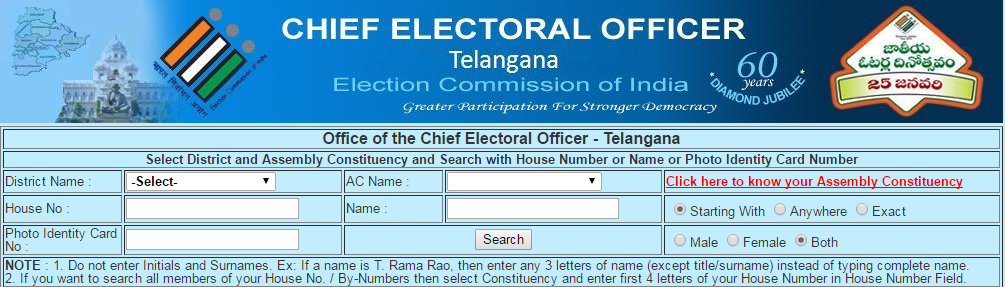 Search your Name in Electoral Roll of Telangana