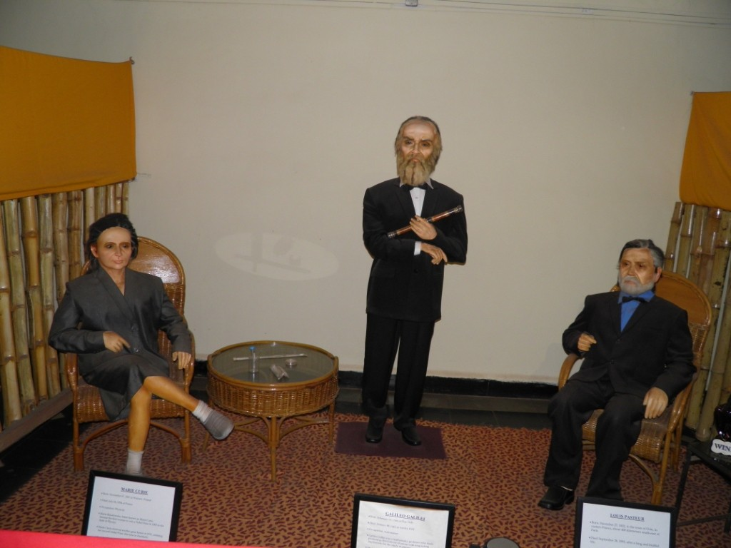 Marie Curie, Galileo Galilei & Louis Pasteur Wax Statue