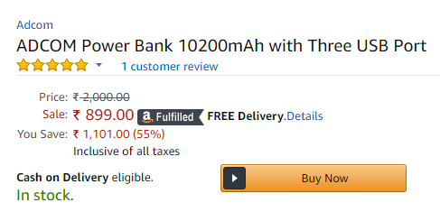 Adcom AP3 Power Bank Amazon