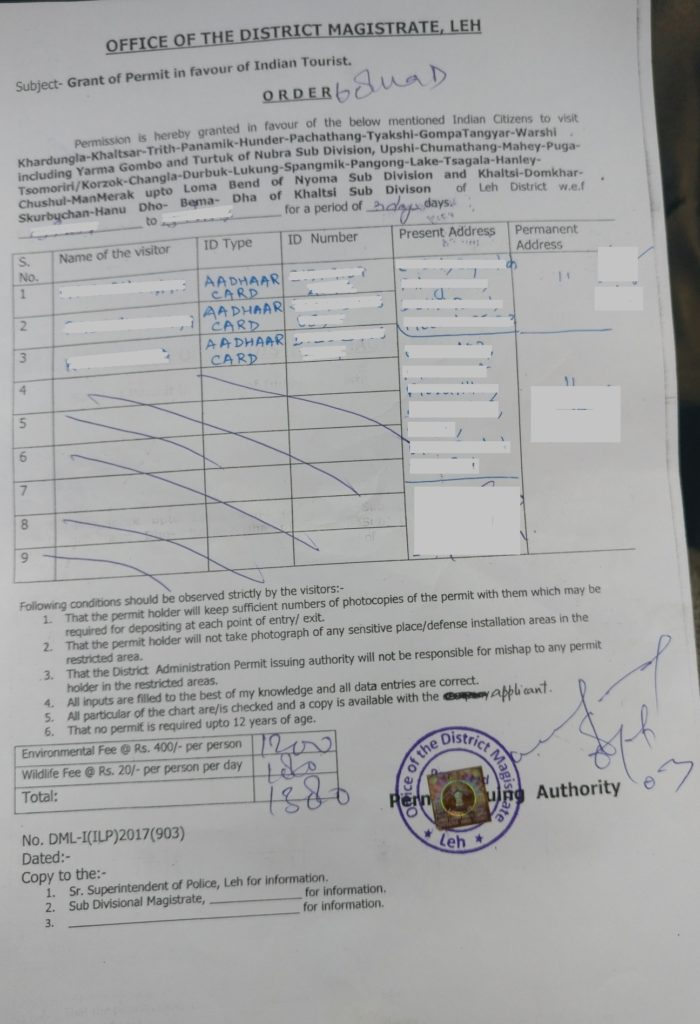 Leh Ladakh Inner Line Permit Application Form