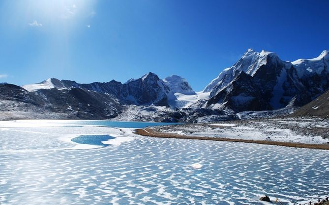 Gurudongmar Lake Snowfall