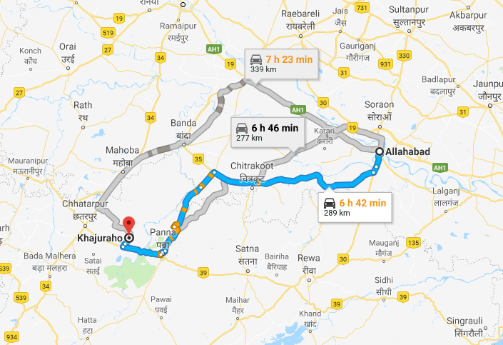 Road Route from Allahabad to Khajuraho via Chitrakoot and Atarra