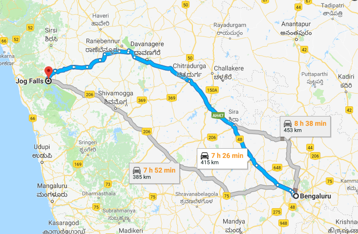 Best Road Route from Bangalore to Jog Falls via Dabaspete