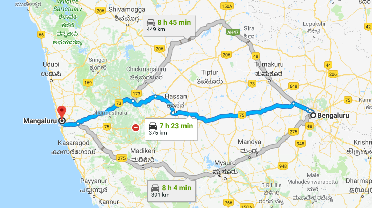 Best Road Route from Bangalore to Mangalore via Hassan