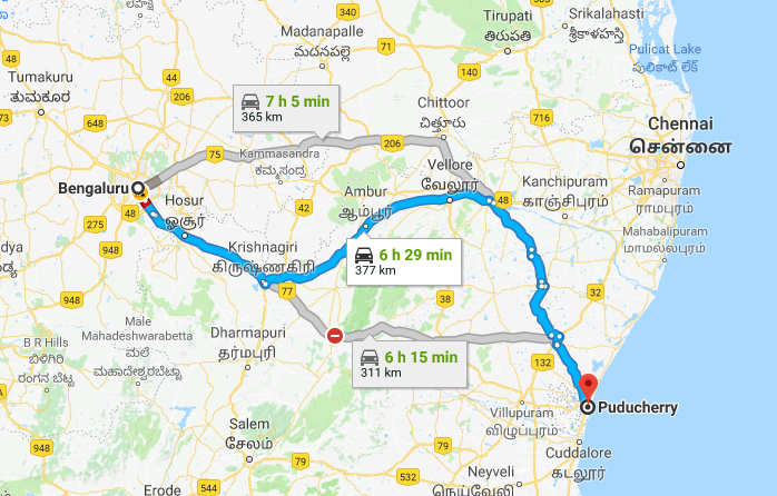 Best Road Route from Bangalore to Pondicherry via Vellore