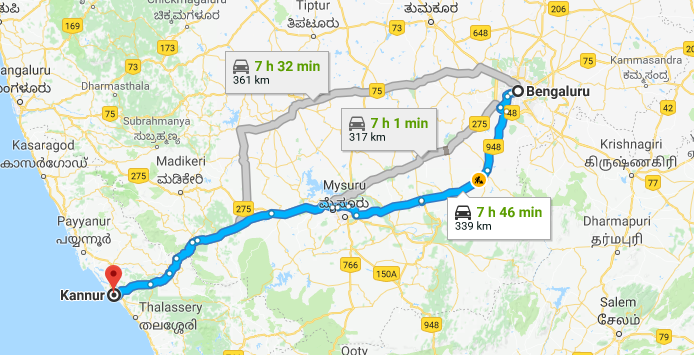 Best Road Route from Bangalore to Kannur via Kanakapura