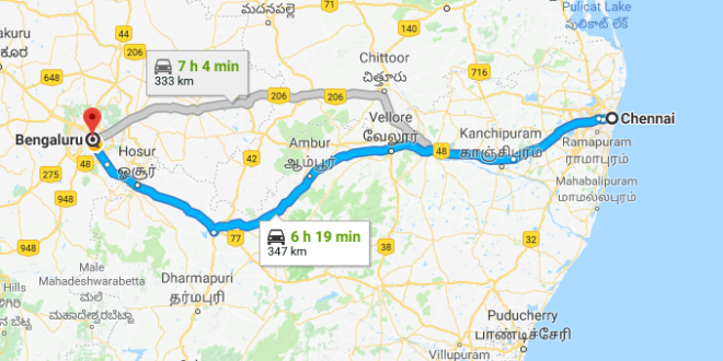 Best Road Route from Chennai to Bangalore via Vellore